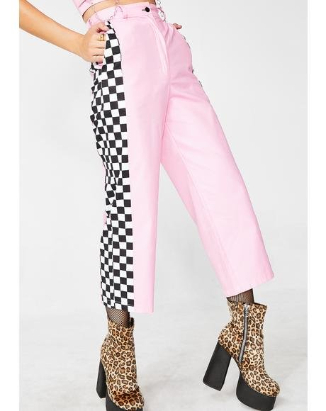 Baby Pink Check Wide Leg Trousers