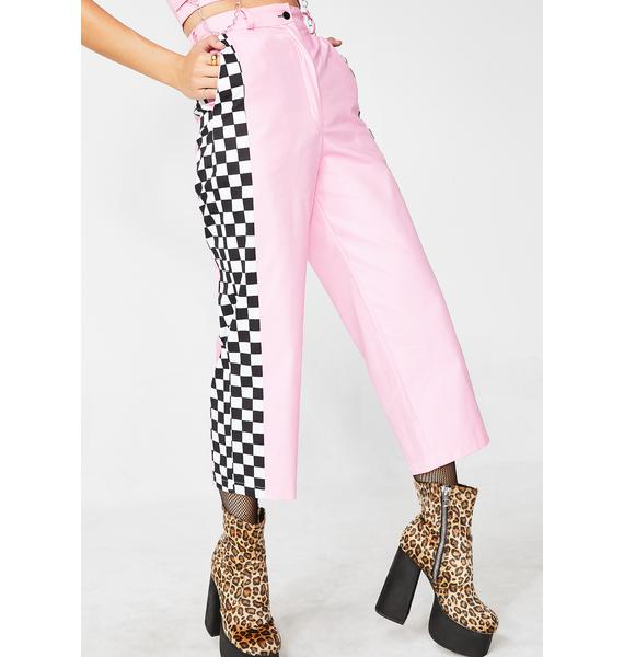 LOVE TOO TRUE Baby Pink Check Wide Leg Trousers