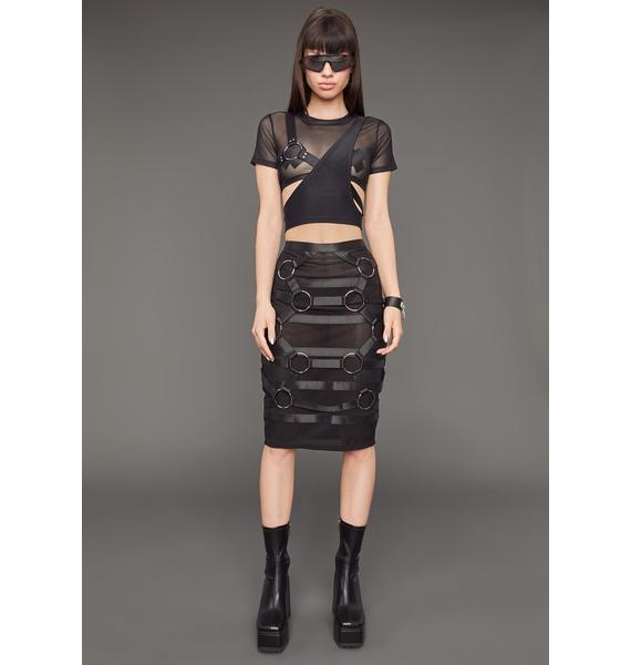 Poster Grl On Your Timeline Mesh Harness Top