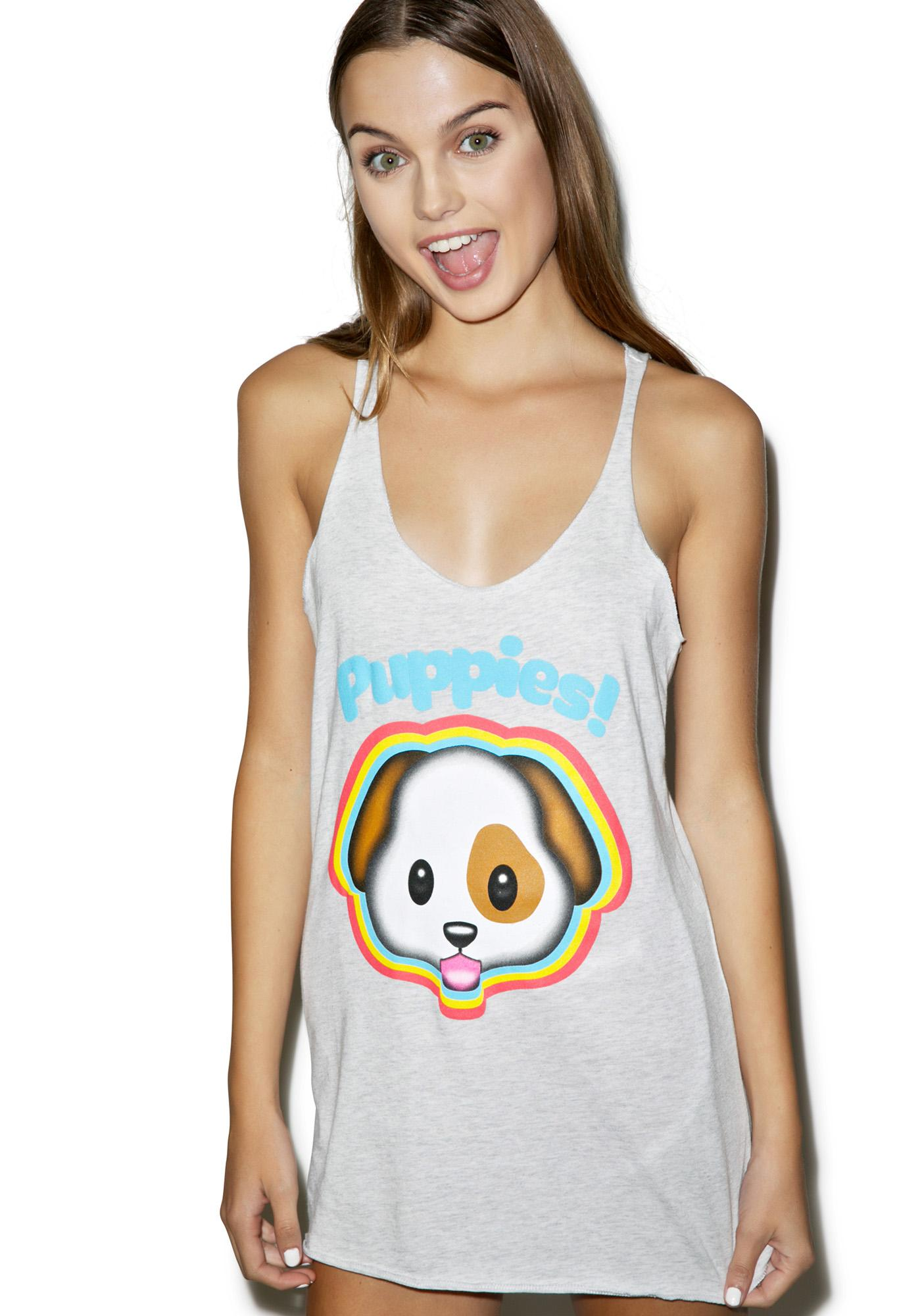 Puppies Make Me Happy Emojeez Tank Top
