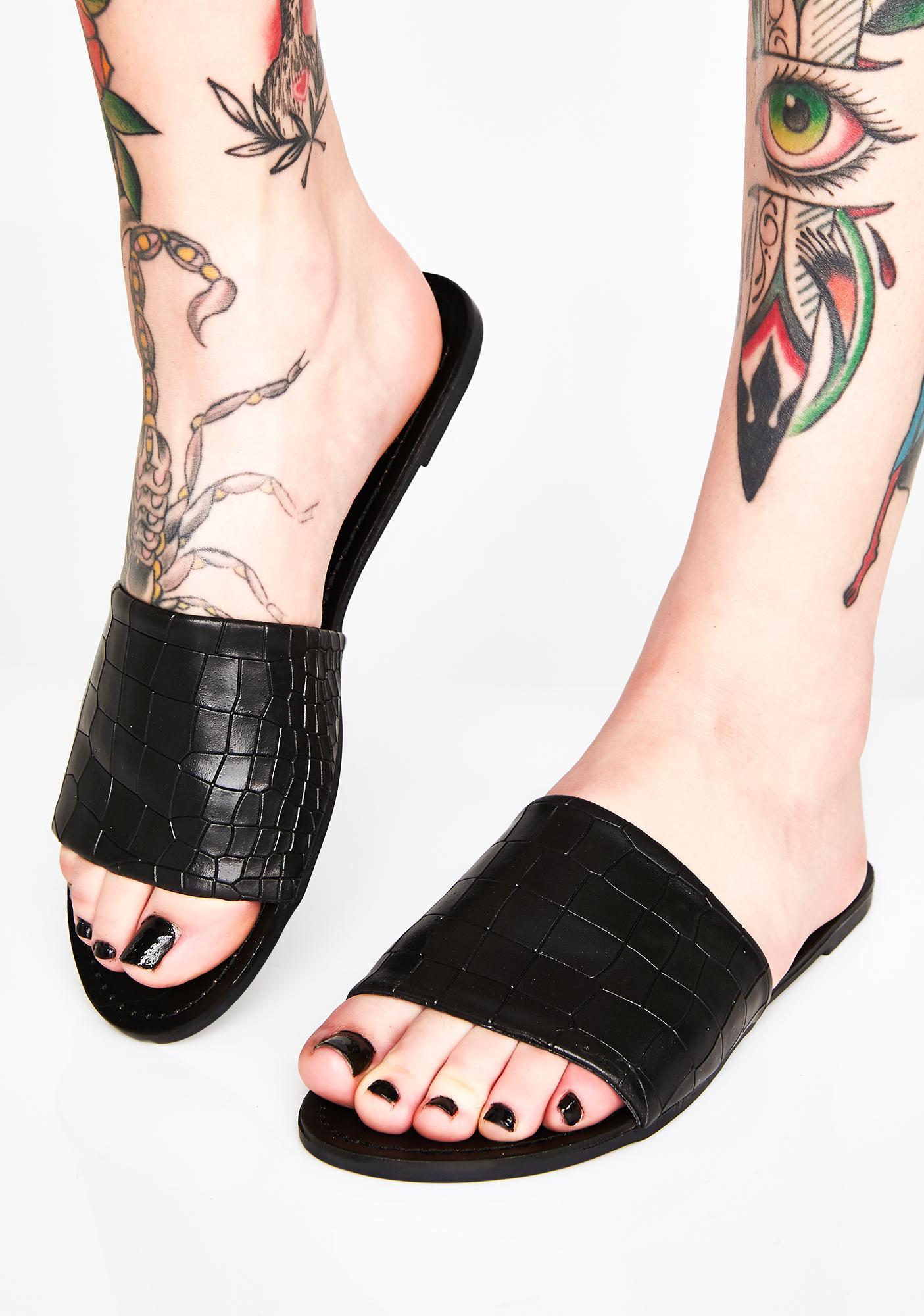 Black Vegan Leather Flat Slides   Dolls
