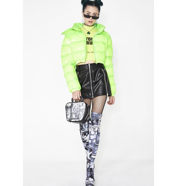 Current Mood Acid Limelight Puffer Jacket