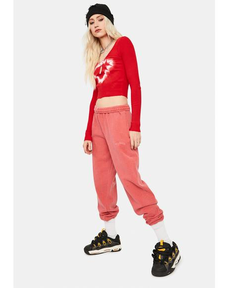 Washed Red Jogger Sweatpants