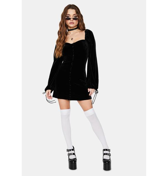 Pretty Teaser Velour Puff Mini Dress