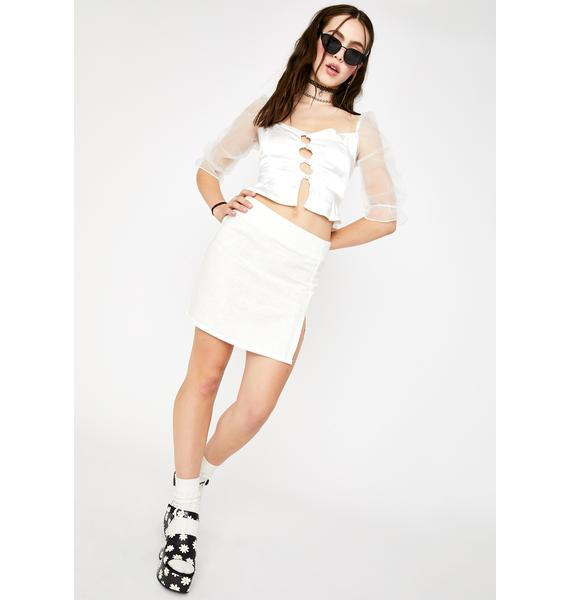 Motel White Sheny Mini Skirt