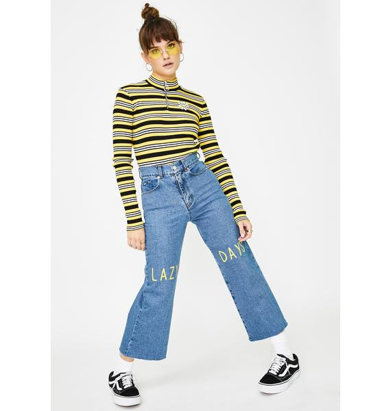 Minga Daisy Bee Striped Half-Zip Top