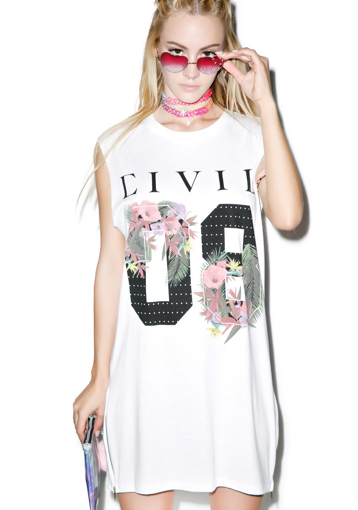 Civil Clothing Floral 08 Long Zip Muscle Tee