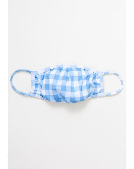 Blue Gingham Face Mask