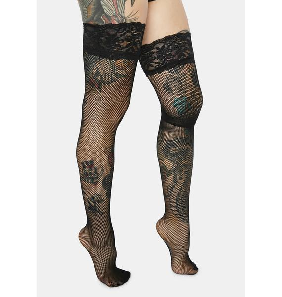 Lace And Love Fishnet Thigh Highs