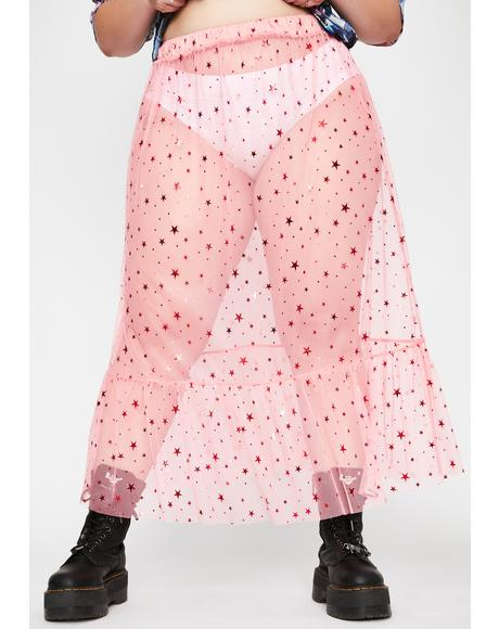 Plus Pink Mesh Star Midi Skirt