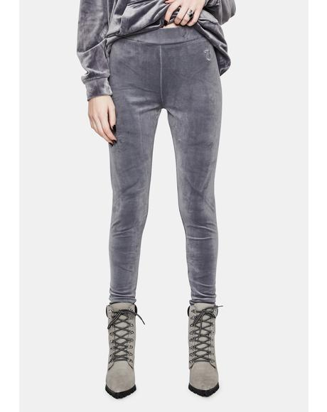 Grey Lounge Luxe Velour Leggings