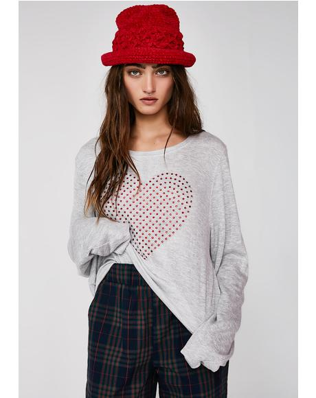 Glitz Heart Baggy Beach Jumper