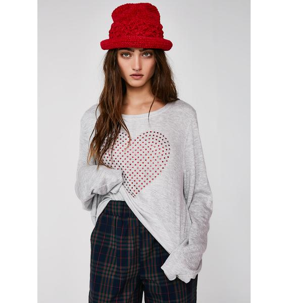 Wildfox Couture Glitz Heart Baggy Beach Jumper