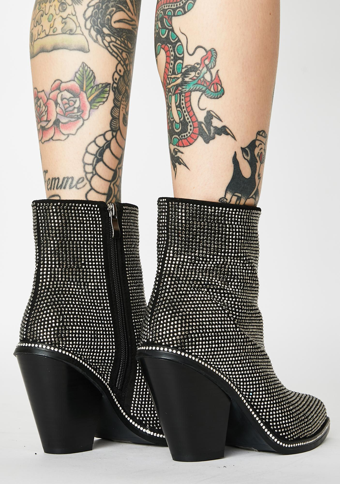 AZALEA WANG Pretend You Don't Care Rhinestone Booties