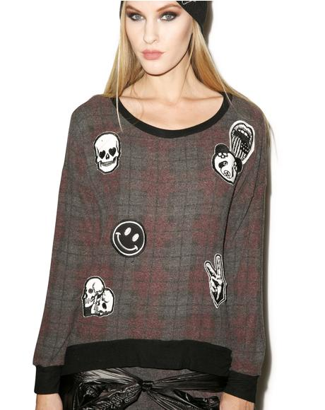 Leslie Patches All Over Hi-Lo Pullover