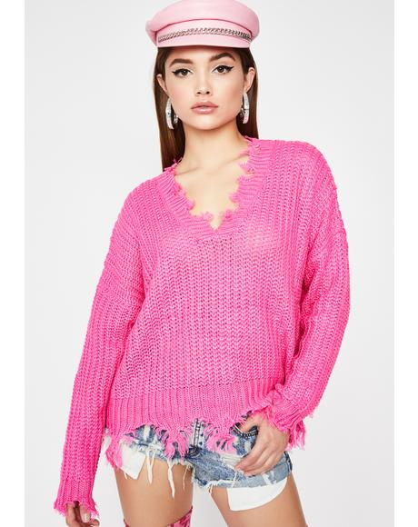 Sweet Hidden Signals Distressed Sweater