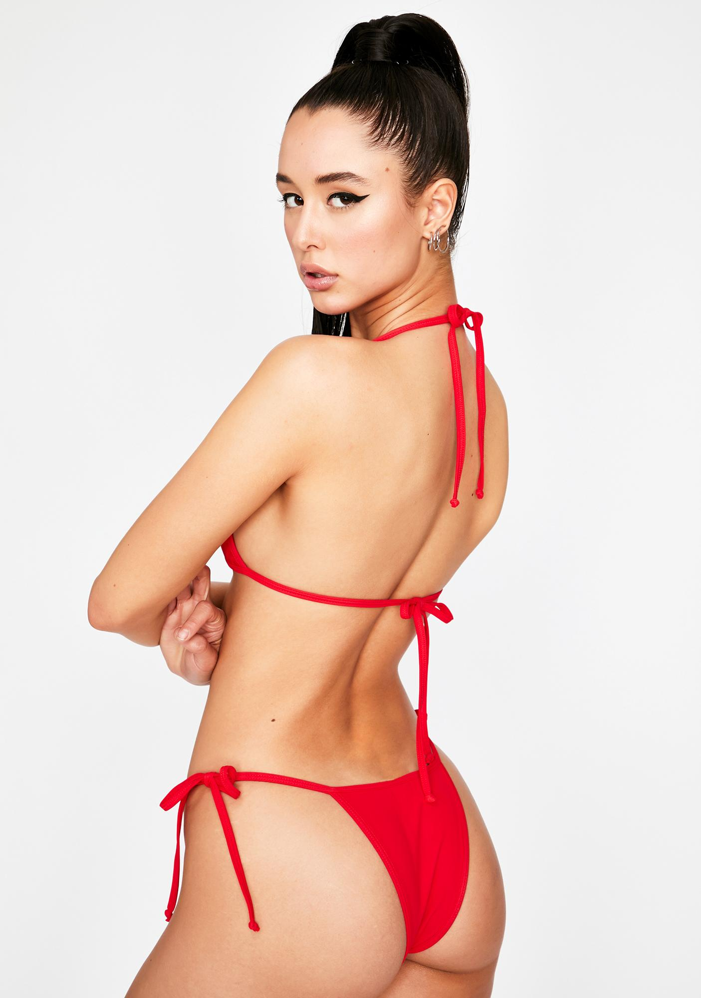 OH SHIT Red Tyra Bikini Bottoms
