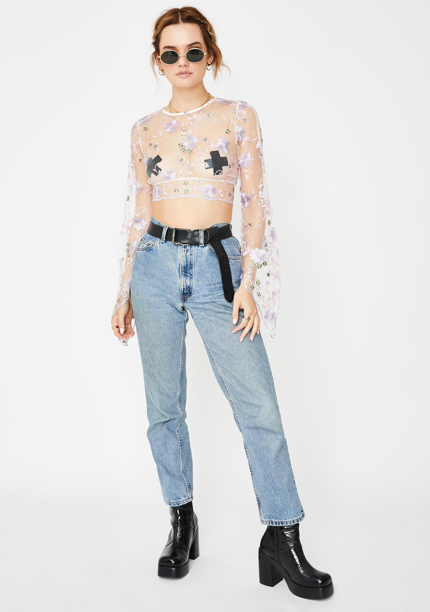 Ebonie N Ivory Embroidered Lace Crop Top