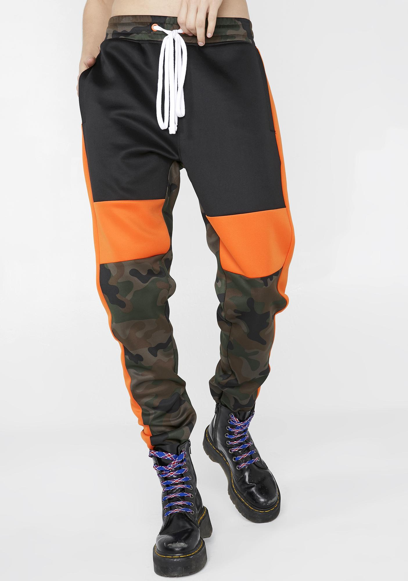 c8c23799016e Camo Orange Colorblock Track Pants | Dolls Kill