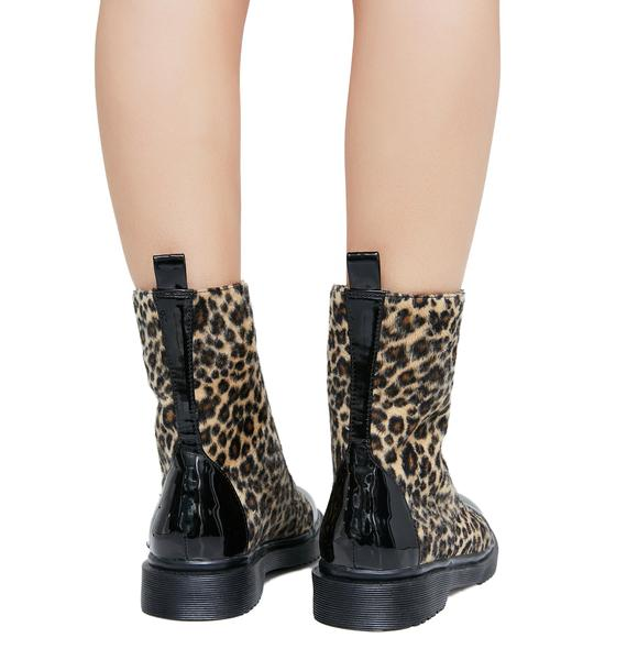 Current Mood Fiercely Ferocious Leopard Combat Boots