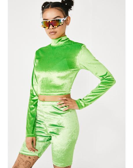Velvet Lime Biker Shorts