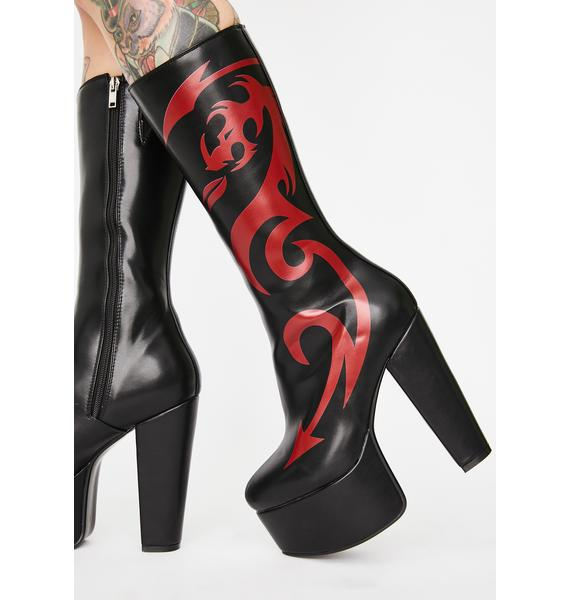 Lamoda Red Dragon Platform Boots