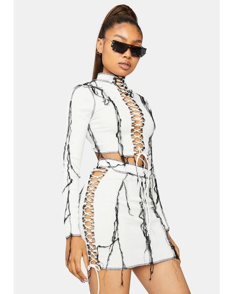 Pure Electric Slide Lace Up Fringe Skirt Set