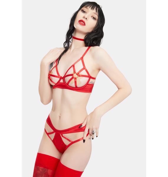 Oh la la Cheri Red Ambra Cut-Out Halter Bra And Panty Set