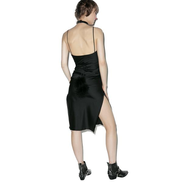 Dyspnea Black Gold Digger Midi Slip Dress