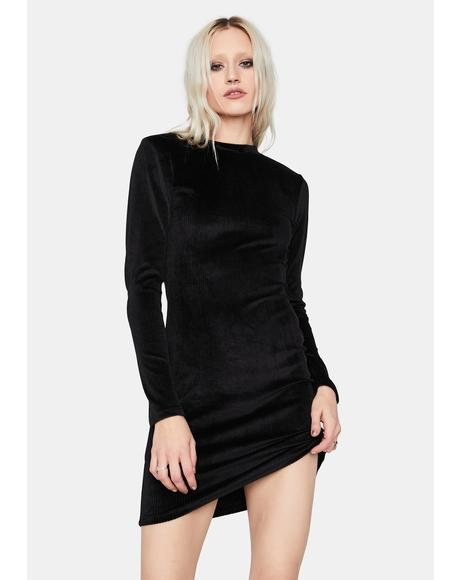 Ring The Phone Velvet Rib Bodycon Dress