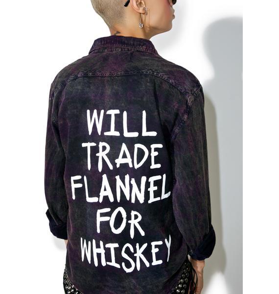 Jac Vanek Whiskey Vintage Acid Wash Flannel