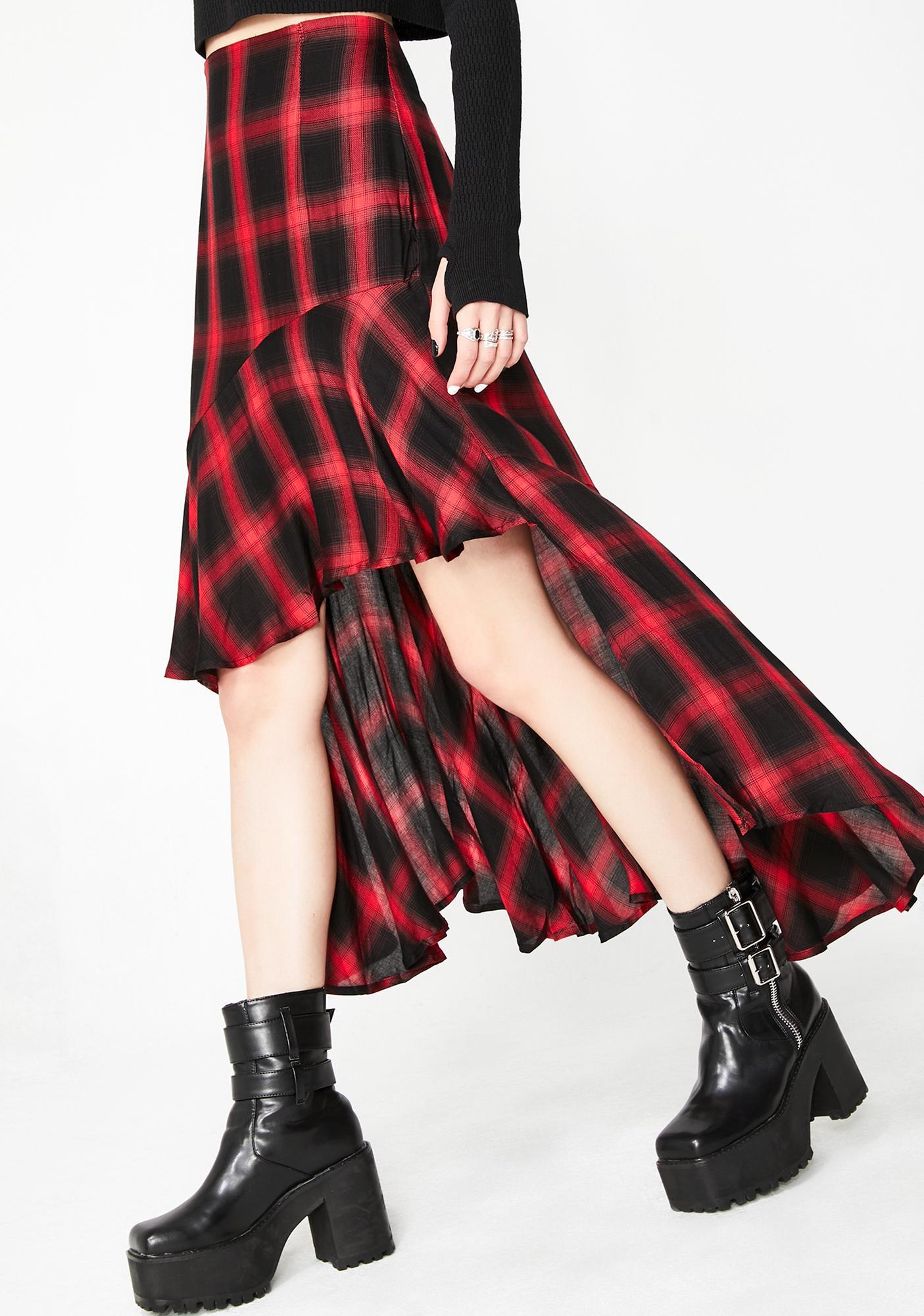 549a961228ac88 Plaid High Low Maxi Skirt | Dolls Kill