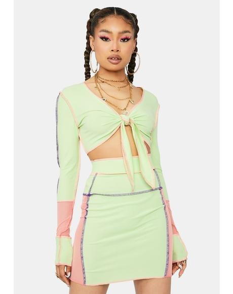Lime True Feelings Colorblock Skirt Set