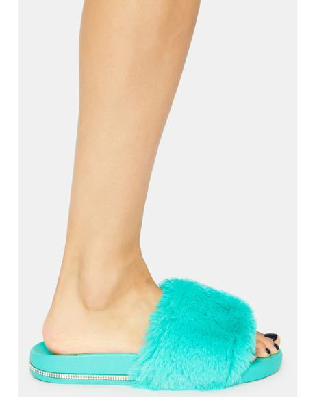 Teal Keep Me Cozy Fuzzy Slides