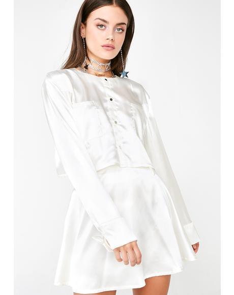 Satin Crop Shirt N' Skirt Set