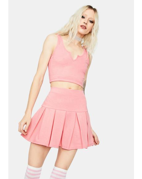 Blush Cheerful Player Tank Pleated Skirt Set