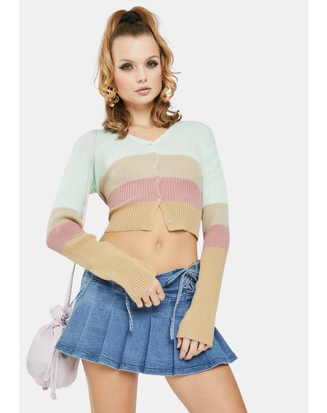 Pastel 90's Crop Stripe Cardigan