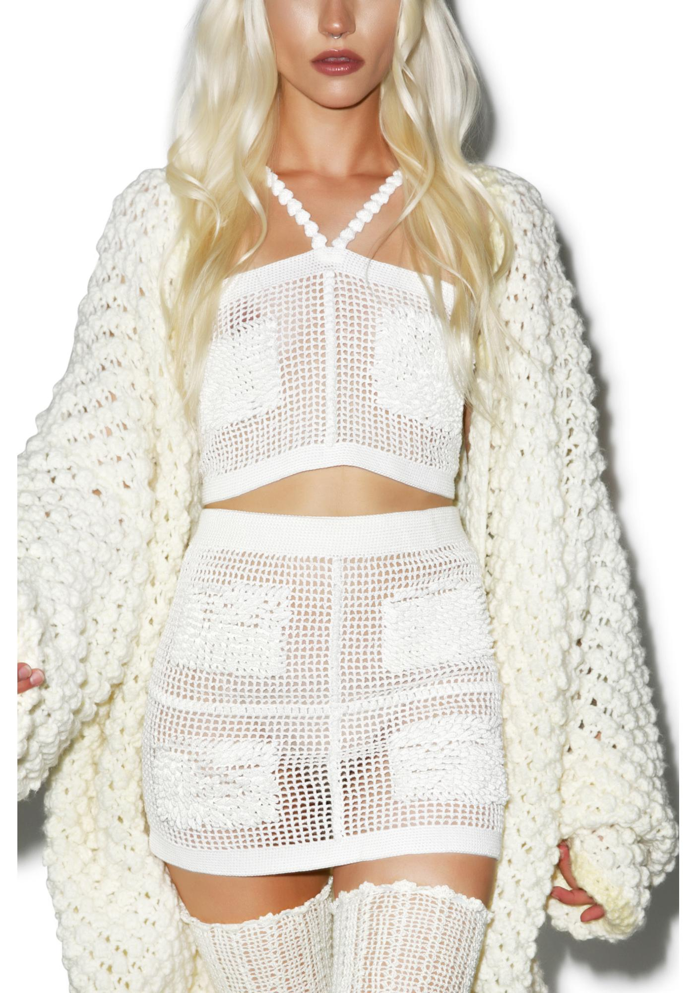Maria ke Fisherman Textured Crochet Mini Skirt