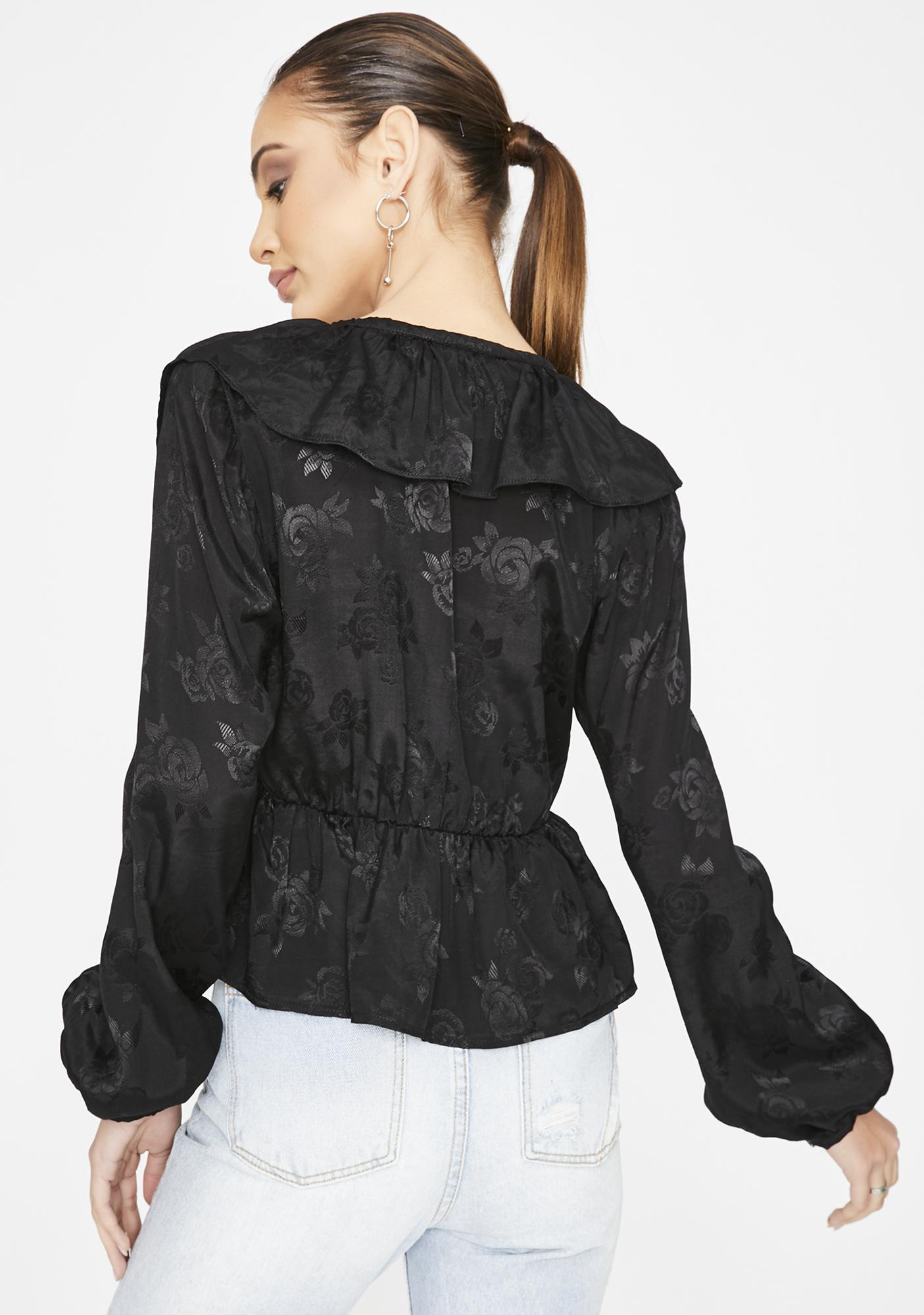 Motel Satin Rose Black Diar Top