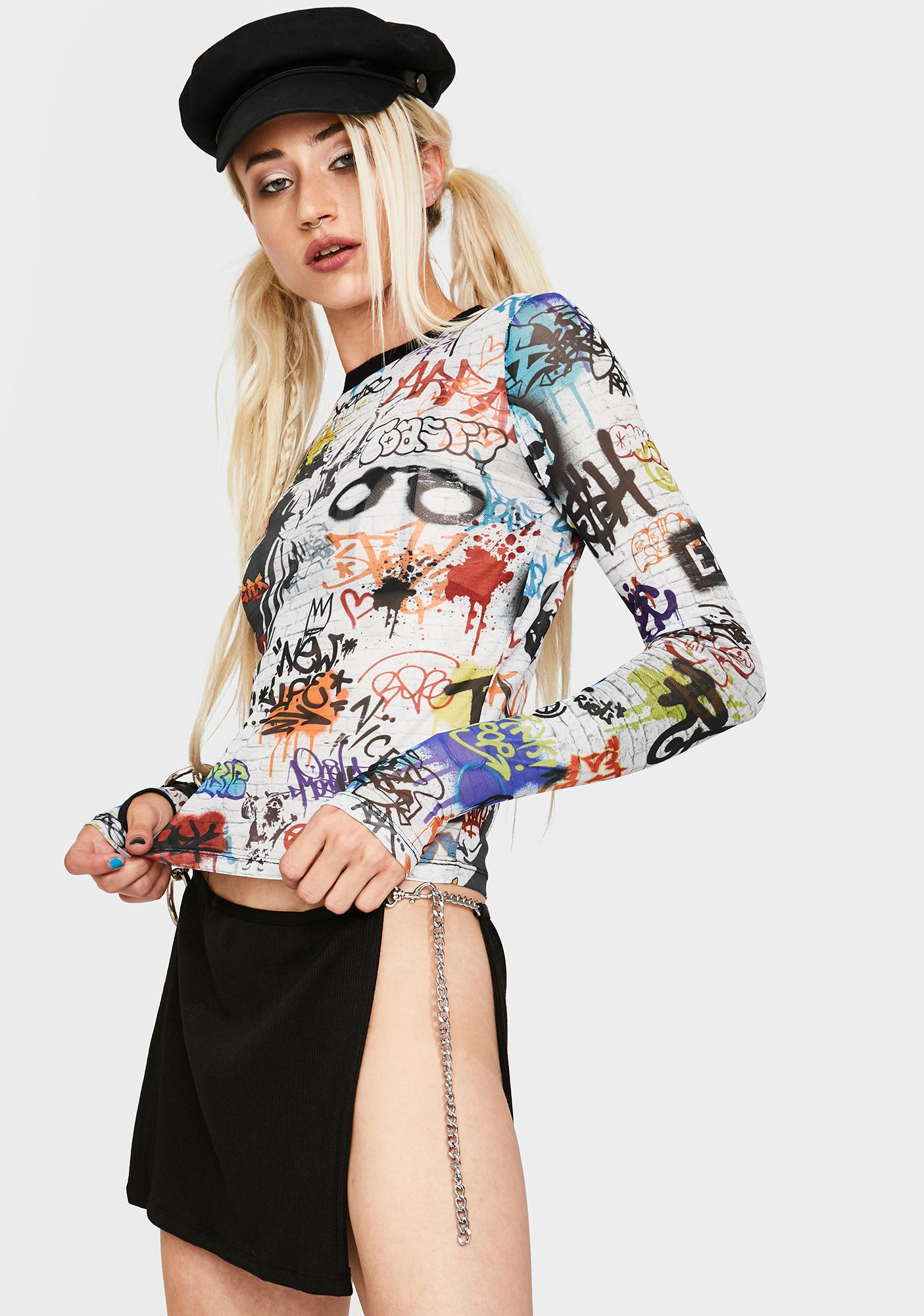 Current Mood Writing's On The Wall Mesh Top