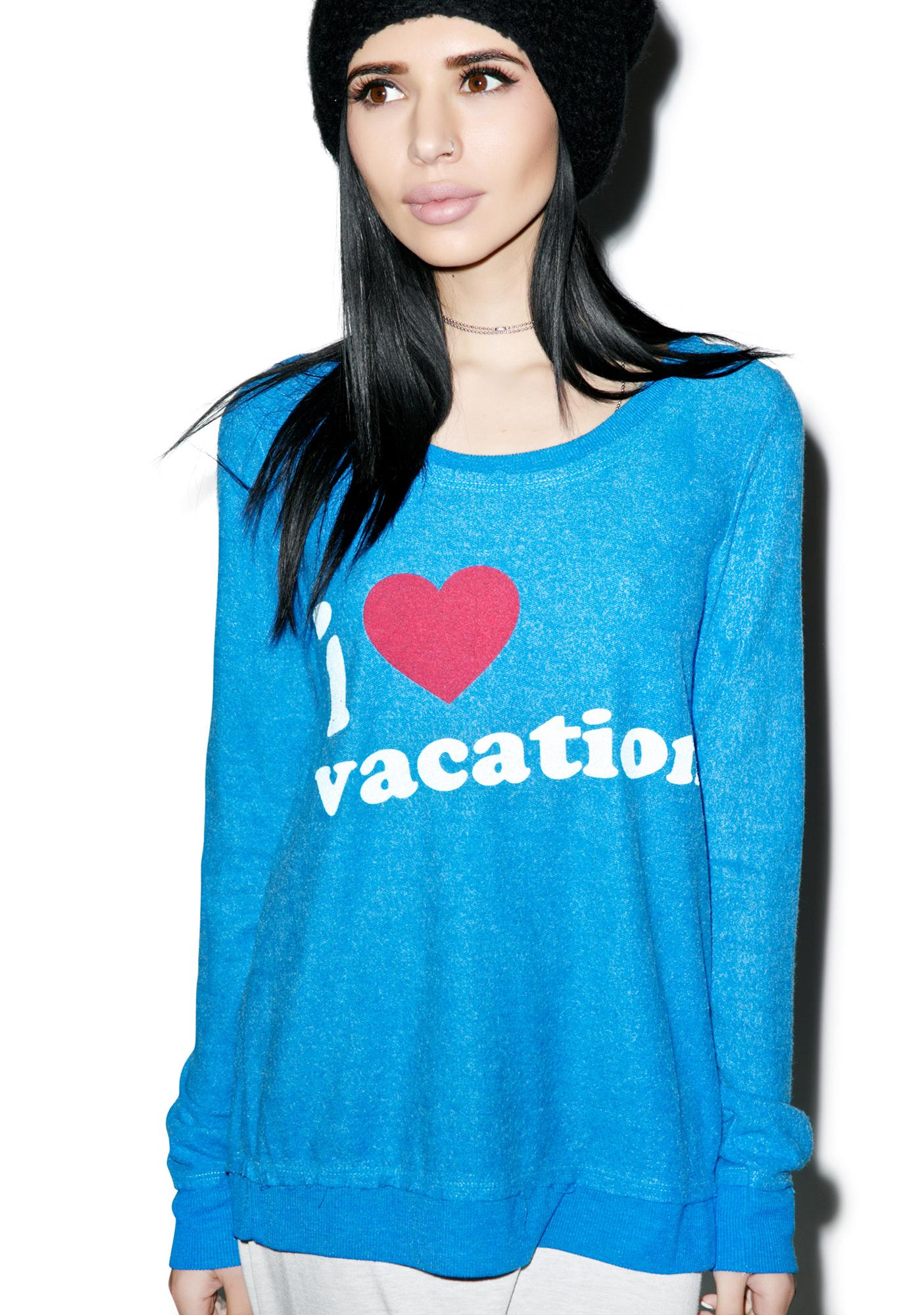 Chaser I Heart Vacation Crew Neck Sweater