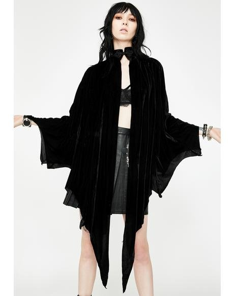 Iris Velvet Bat Wing Cape