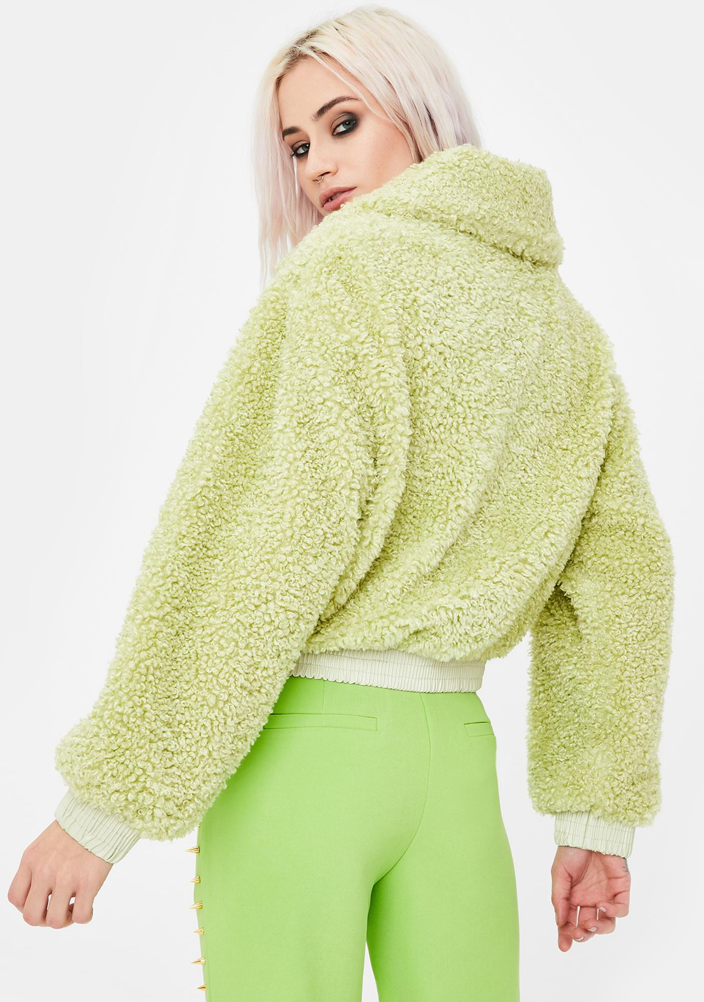 No Dress Avocado Green Faux Fur Jacket