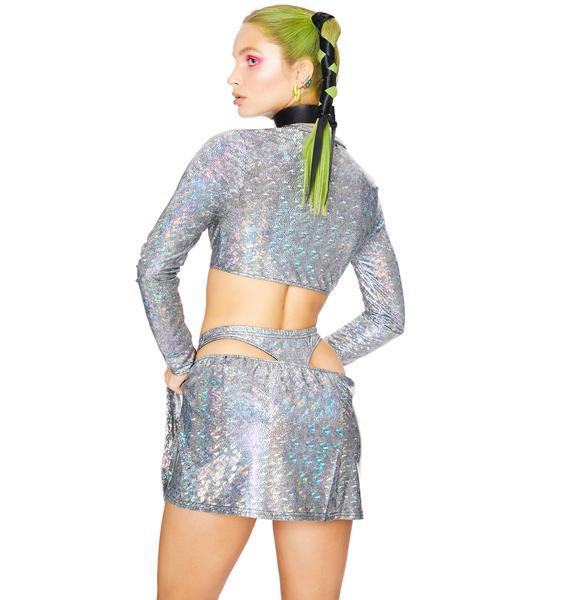 Club Exx Mercury Rising Holographic Skirt Set