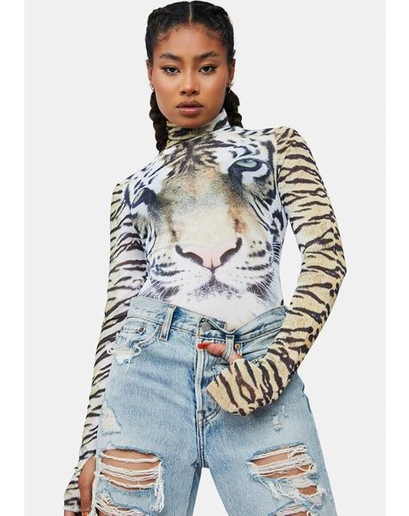 Wild Tiger Zadie Mesh Turtleneck Top