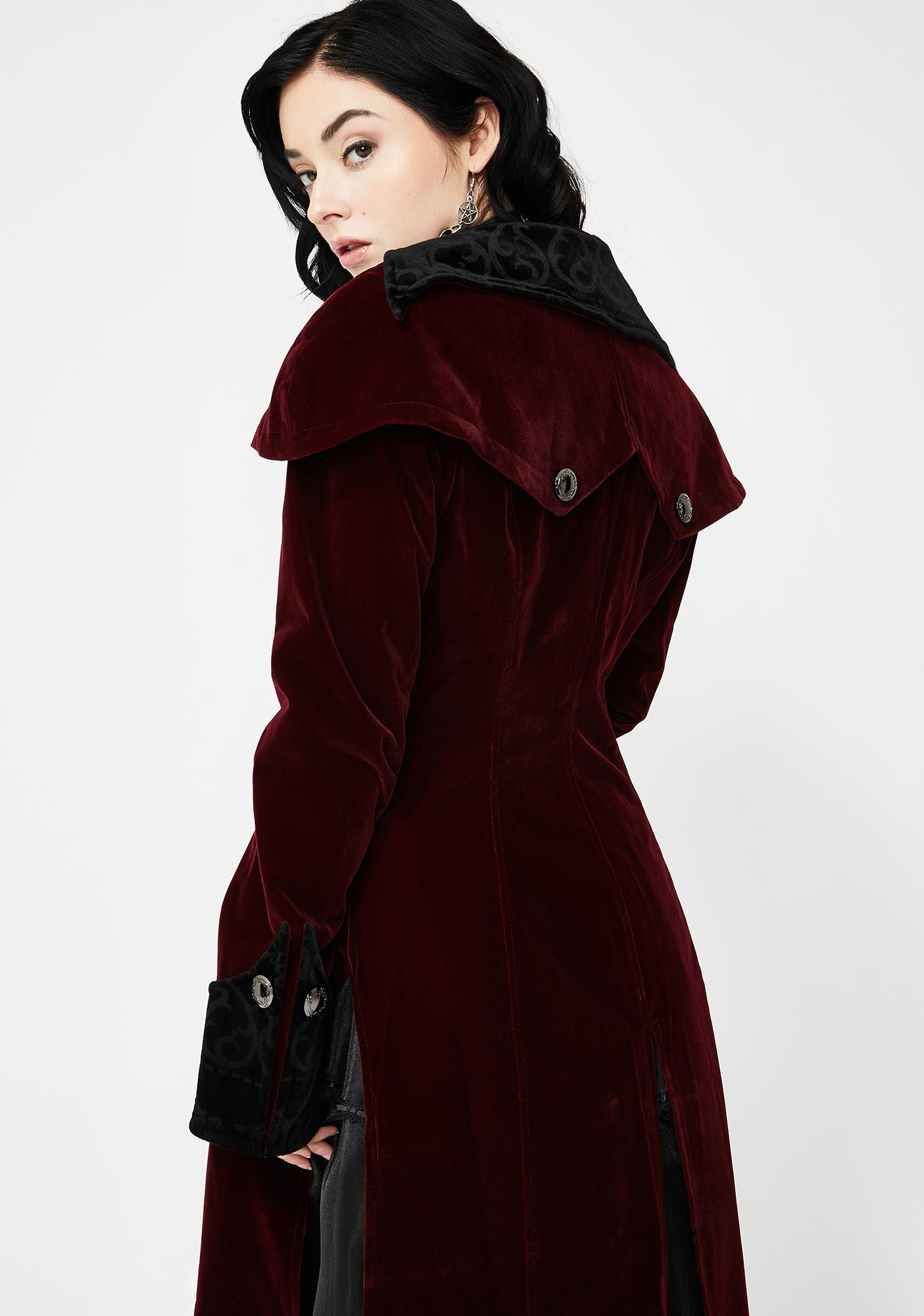 Devil Fashion Long Red Velvet Cape Collar Coat