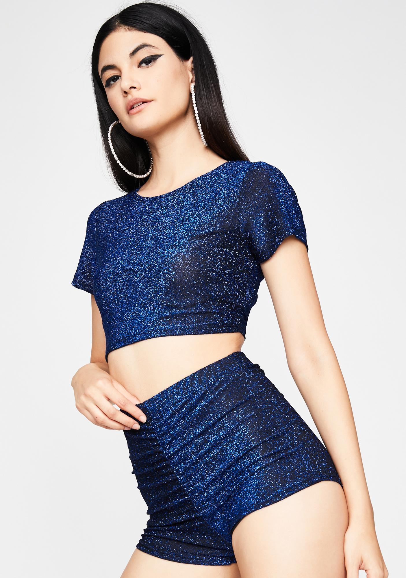Cobalt Freaky Raybeamz Glitter Shorts Set