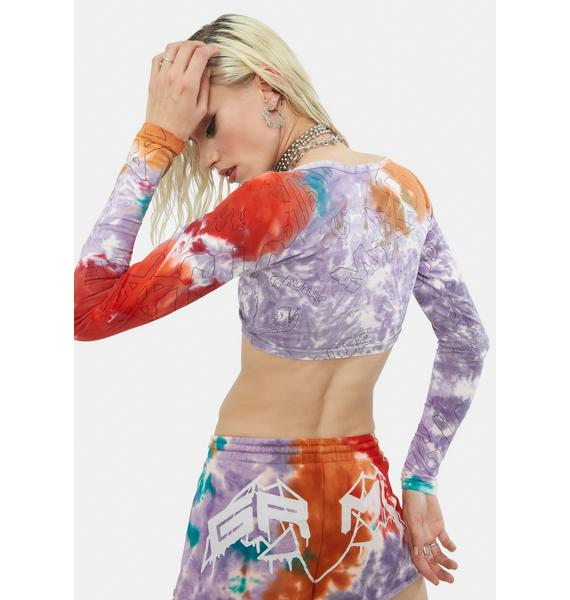 GRIMEY Liveution Tie Dye Long Sleeve Crop Top