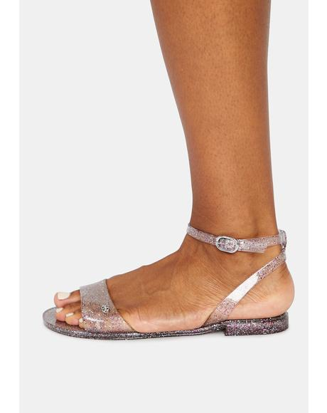 Silver Glitter Pullman Jelly Sandals