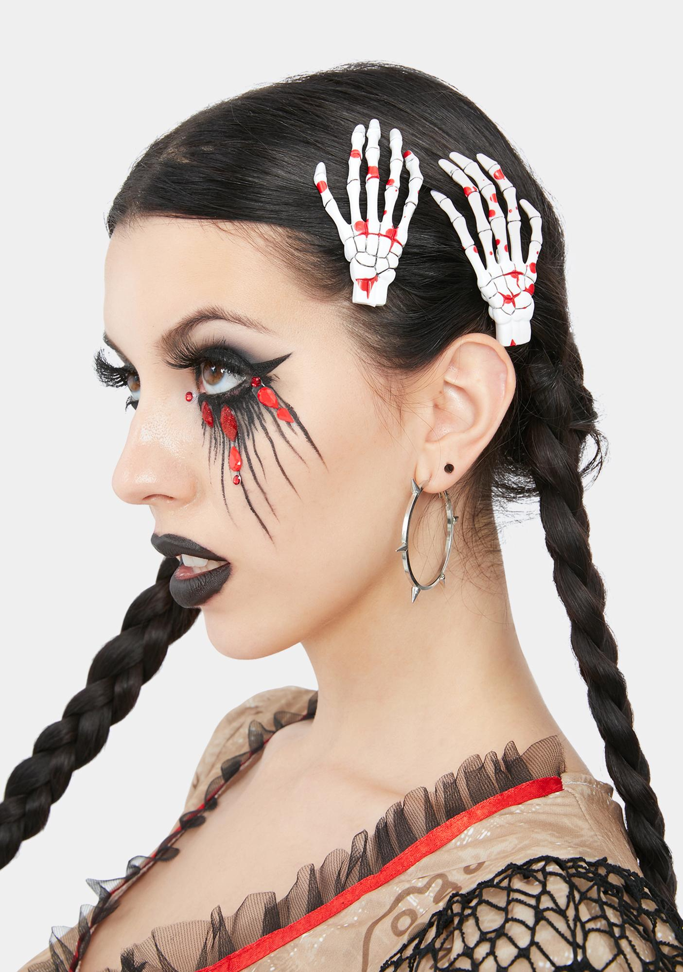 Kreepsville 666 Skeleton Bone Hand Hair Clips